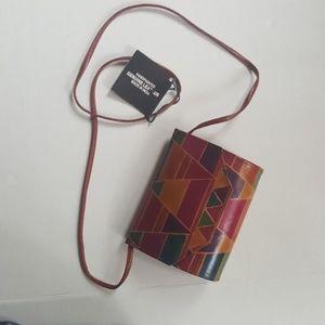 Geometric print vintage leather purse crossbody